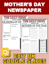Load image into Gallery viewer, Mother's Day Newspaper (Editable in Google Slides) - Roombop