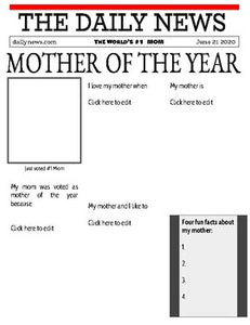 Mother's Day Newspaper (Editable in Google Slides) - Roombop