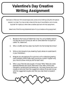 Valentine's Day Creative Writing Assignment (Editable Google Slides) - Roombop