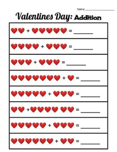 Valentines Day Kindergarten Math - Roombop