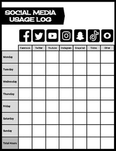 Technology & Social Media Log (Editable Google Slides) - Roombop