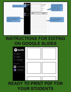 Spotify Song Album Template (Editable on Google Slides) - Roombop