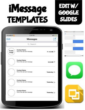 iMessage Template (Editable on Google Slides) - Roombop