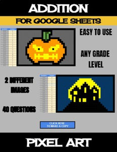 Halloween - Digital Pixel Art, Magic Reveal - ADDITION - Google Sheets