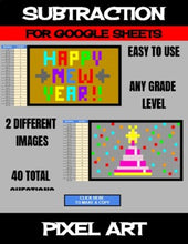 Load image into Gallery viewer, New Year - Digital Pixel Art, Magic Reveal - SUBTRACTION - Google Sheets