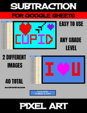 Load image into Gallery viewer, Valentine's Day - Digital Pixel Art, Magic Reveal - SUBTRACTION - Google Sheets