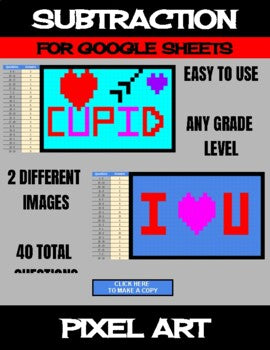 Valentine's Day - Digital Pixel Art, Magic Reveal - SUBTRACTION - Google Sheets