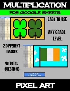 St. Patrick's Day Digital Pixel Art, Magic Reveal MULTIPLICATION - Google Sheets