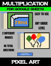 Load image into Gallery viewer, New Year - Digital Pixel Art, Magic Reveal - MULTIPLICATION - Google Sheets