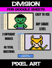 Load image into Gallery viewer, Super Heros - Digital Pixel Art, Magic Reveal - DIVISION - Google Sheets