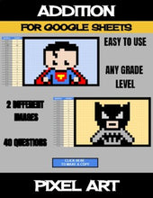 Load image into Gallery viewer, Super Heros - Digital Pixel Art, Magic Reveal - ADDITION - Google Sheets