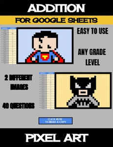 Super Heros - Digital Pixel Art, Magic Reveal - ADDITION - Google Sheets