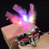 LED Halloween Mask Light Up Women Girls Masquerade Mask Half Face Party Dance Mask Festival Costume Props