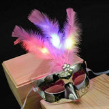 Women Venetian LED Mask Masquerade Fancy Dress Party Feather Halloween Masks HOT Three Light Feather Mask