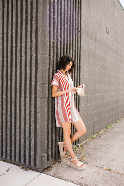 Fallin' For Stripes Shirt Dress