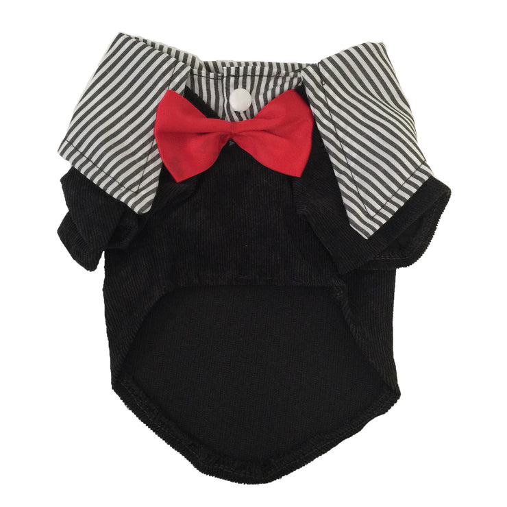 Ruffstyles Black Collared Pet Shirt with Bow Tie