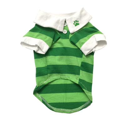 Ruffstyles Green Striped Collared Pet Shirt