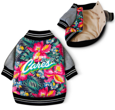 "Ruffstyles Floral ""No One Cares"" Pet Jacket"