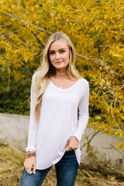 A Ray Of White Long Sleeve V