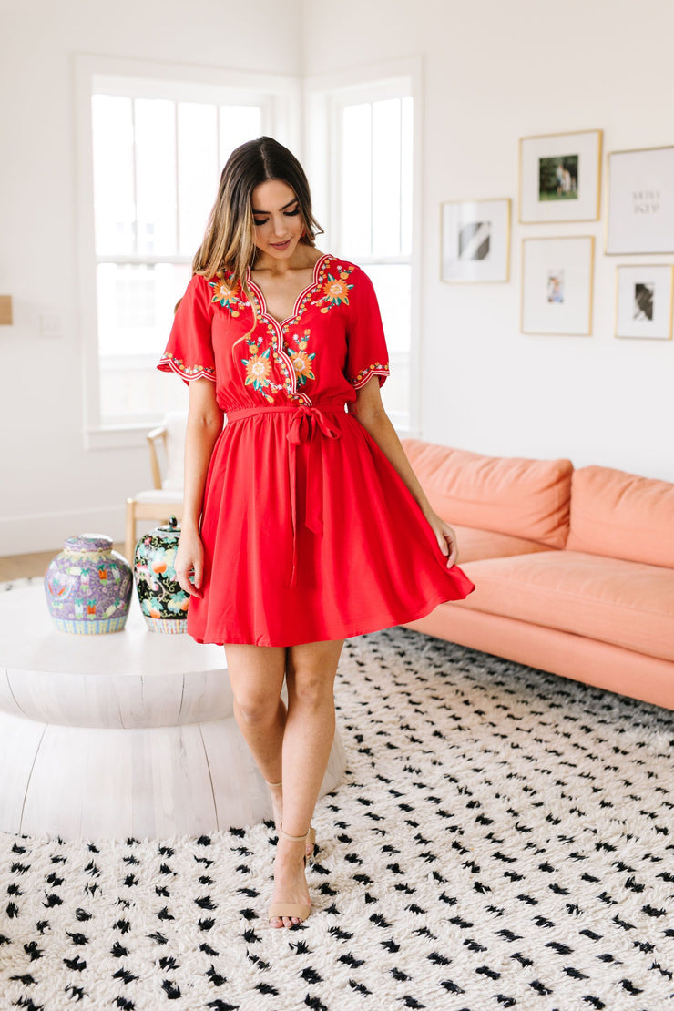 Brooklyn Embroidered Dress in Red
