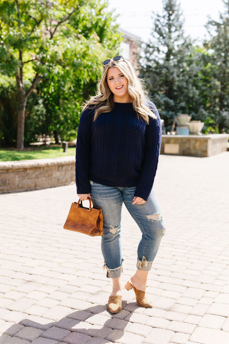 Cable Knit Navy Sweater