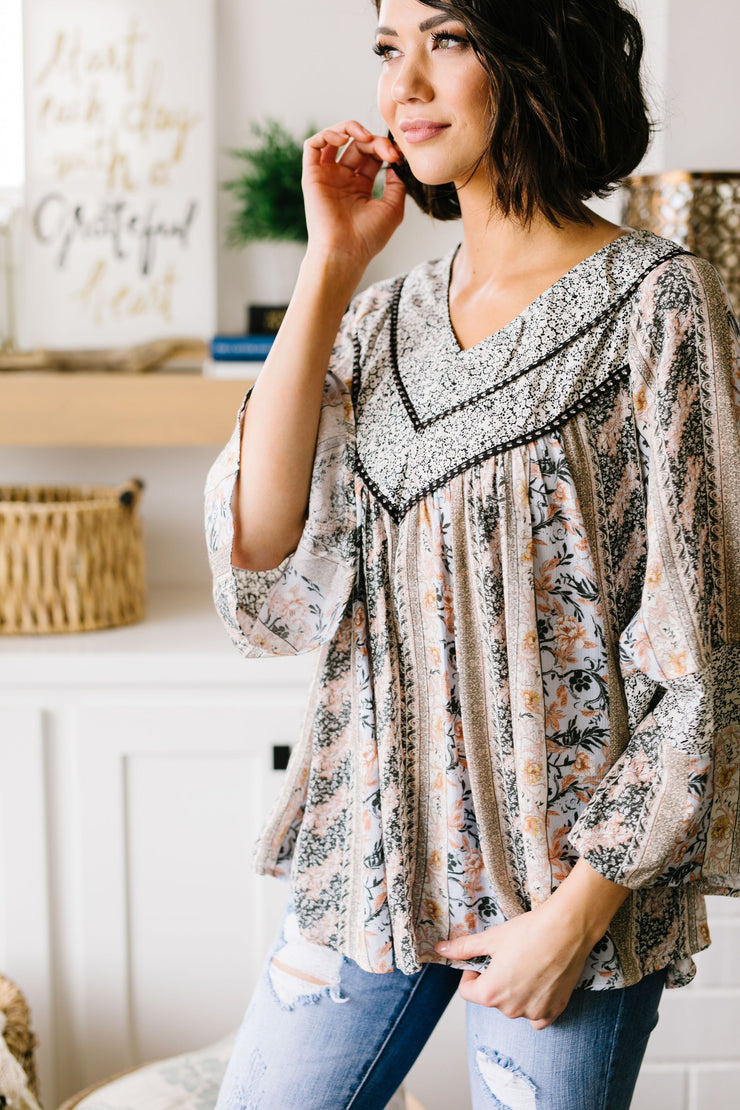 Boho Rose Bell Sleeve Blouse