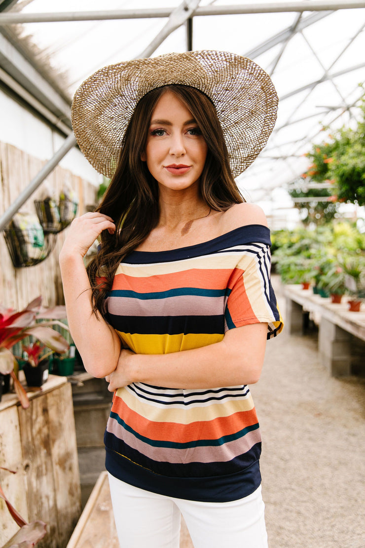 Happy Stripes Boatneck Top In Coral