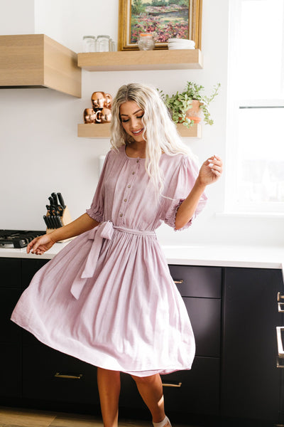 Lilac Balloon Sleeve Dress