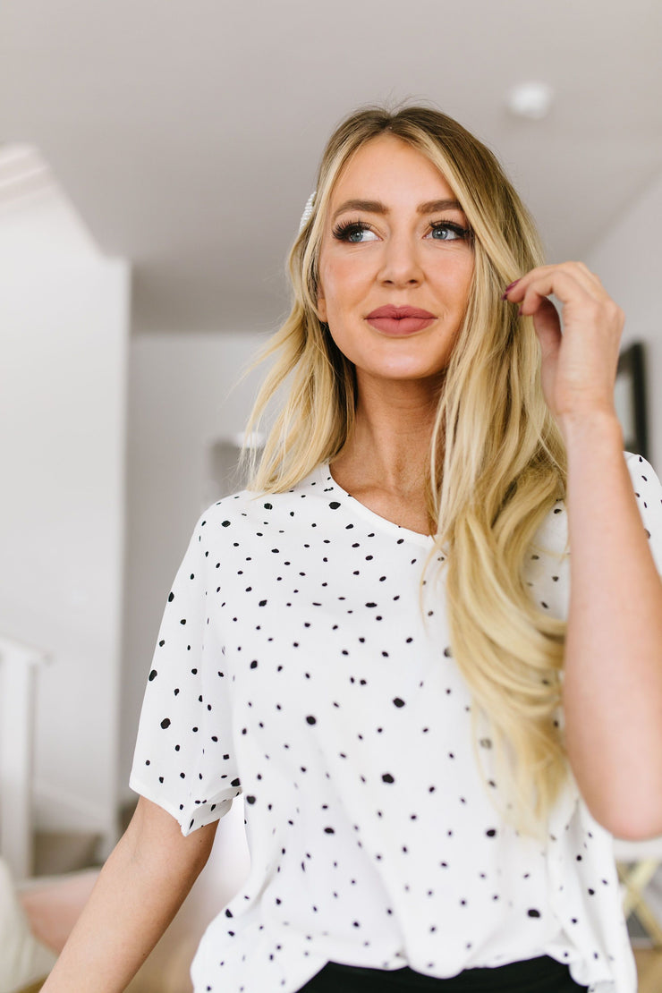 On The Dot Blouse In White
