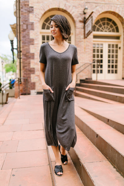 Ups and Downs Jumpsuit In Charcoal