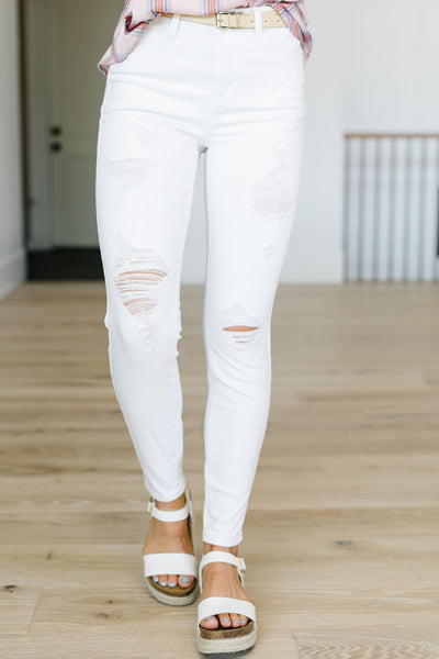 White Storm Destroyed Skinny Jeans - Judy Blue