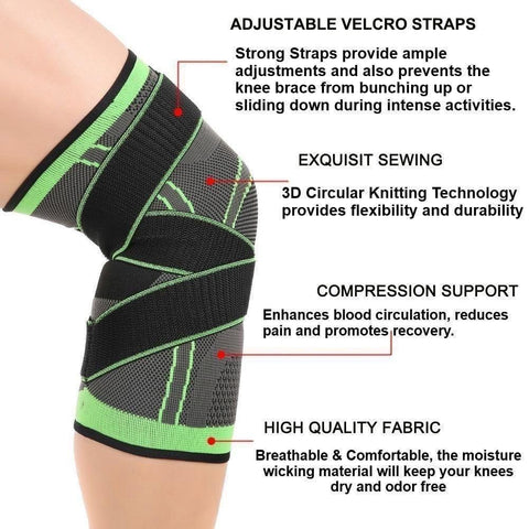 Knee Compression Sleeve Brace with Patella Stabilizer Straps - EcoBraces®