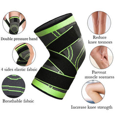 Knee Compression Sleeve Brace Deluxe with Patella Stabilizer Straps for Fitness, Running, Cycling, Basketball Knee Support Elastic Nylon Compression Pad