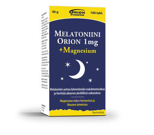 Melatoniini 1 mg + Magnesium 100 tablettia