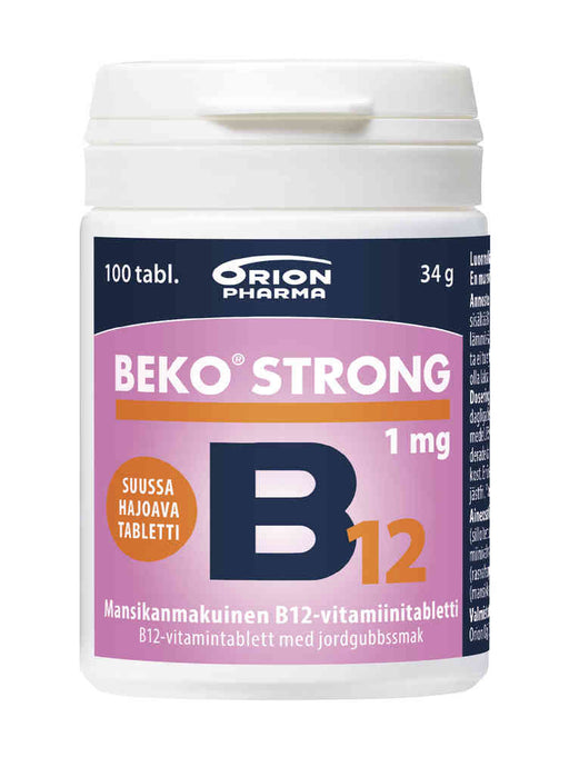 Beko Strong B12 mansikanmakuinen 1 mg 30 tablettia