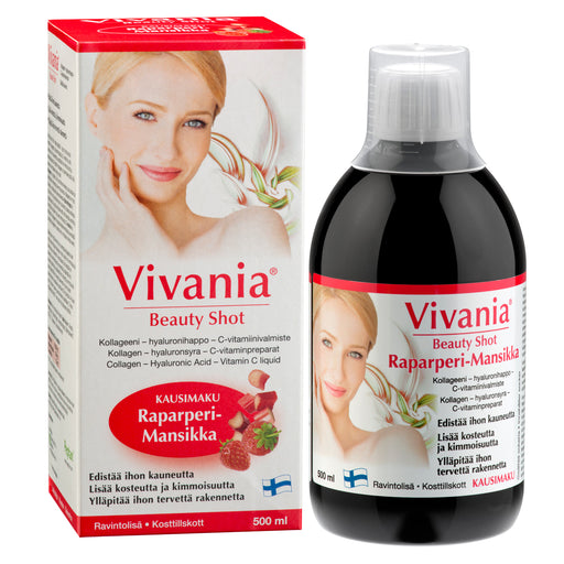 Vivania Beauty Shot Raparperi-Mansikka 500 ml