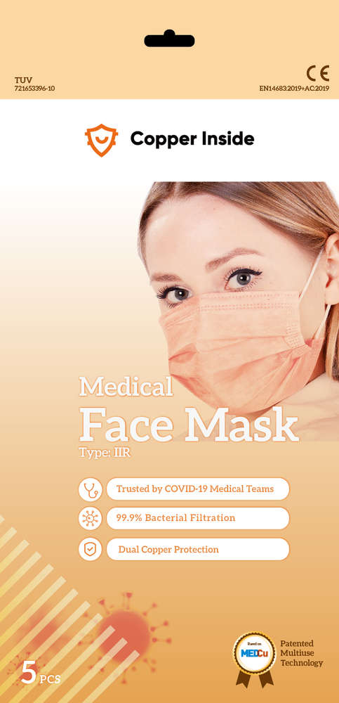 Kuparimaski Medical Face Mask Type IIR CE-merkitty 5 kpl