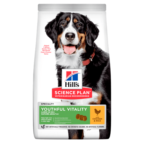 Hill's SP Youthful Vitality Large Mature Adult Dog, kana & riisi 14 kg