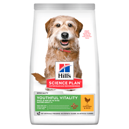 Hill's SP Youthful Vitality Small & Mini Mature Adult Dog, kana & riisi 1,5 kg