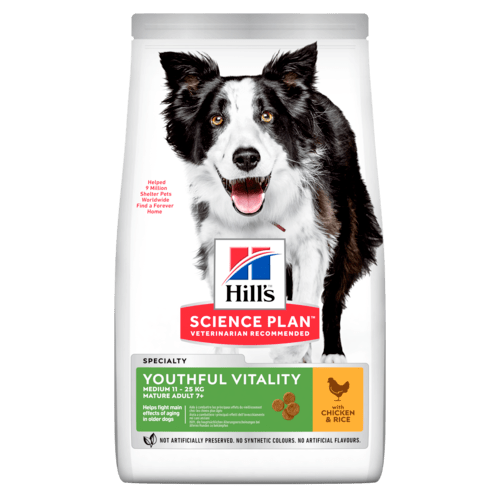 Hill's SP Youthful Vitality Medium Mature Adult Dog, kana & riisi 2,5 kg