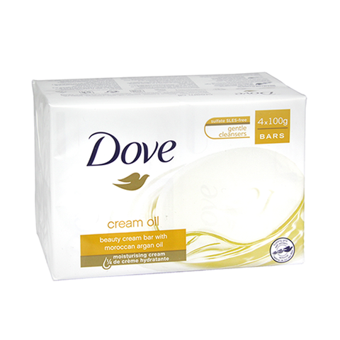 Dove Cream Oil Beauty Bar With Moroccan Argan Oil 4x100g in UK