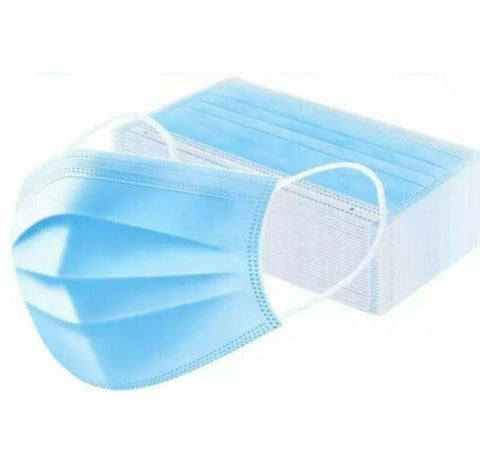 Face Mask 3Ply Face Mouth Nose & Ear Loops Protection Disposable Dust Masks X 5