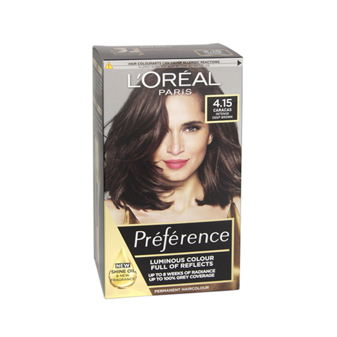L'Oreal Preference Caracas 4.15 Intense Deep Brown Permanent Hair Dye in UK