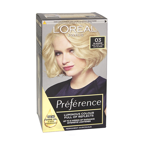 L'Oreal Preference Glasgow 03 Very Very Light Ash Blonde Permanent Hair Dye in UK