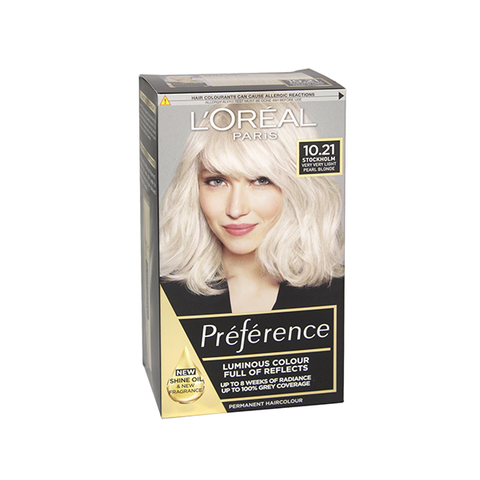 L'Oreal Preference Stockholm 10.21 Very Very Light Pearl Blonde Permanent Hair Dye in UK