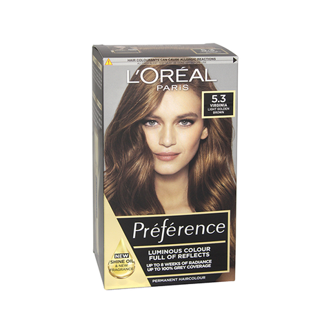L'Oreal Preference Virginia 5.3 Light Golden Brown Permanent Hair Dye in UK