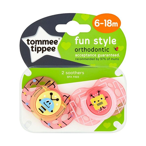 Tommee Tippee Fun Style Soother 6 -18M X2
