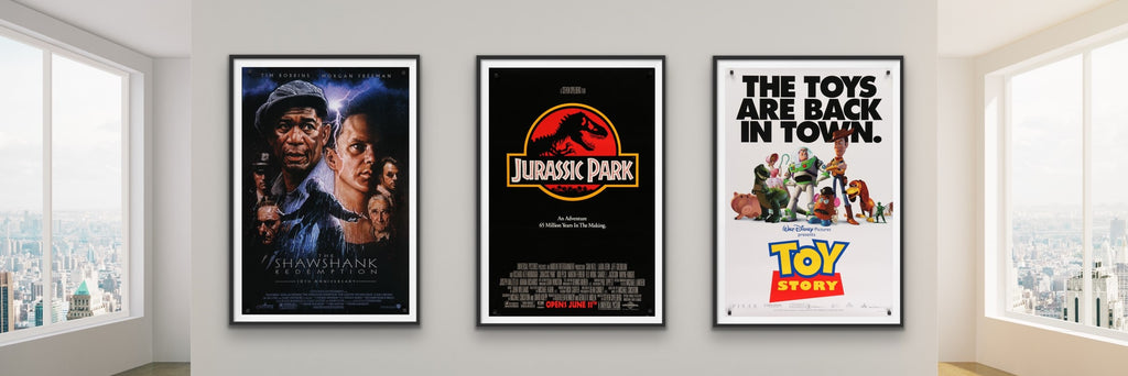 A selection of movie posters from the 1990s and 1980s
