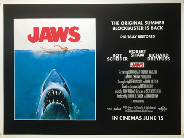 An original movie poster for the Spielberg film Jaws