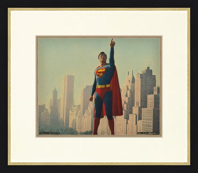 An original lobby card for the movie / film Superman